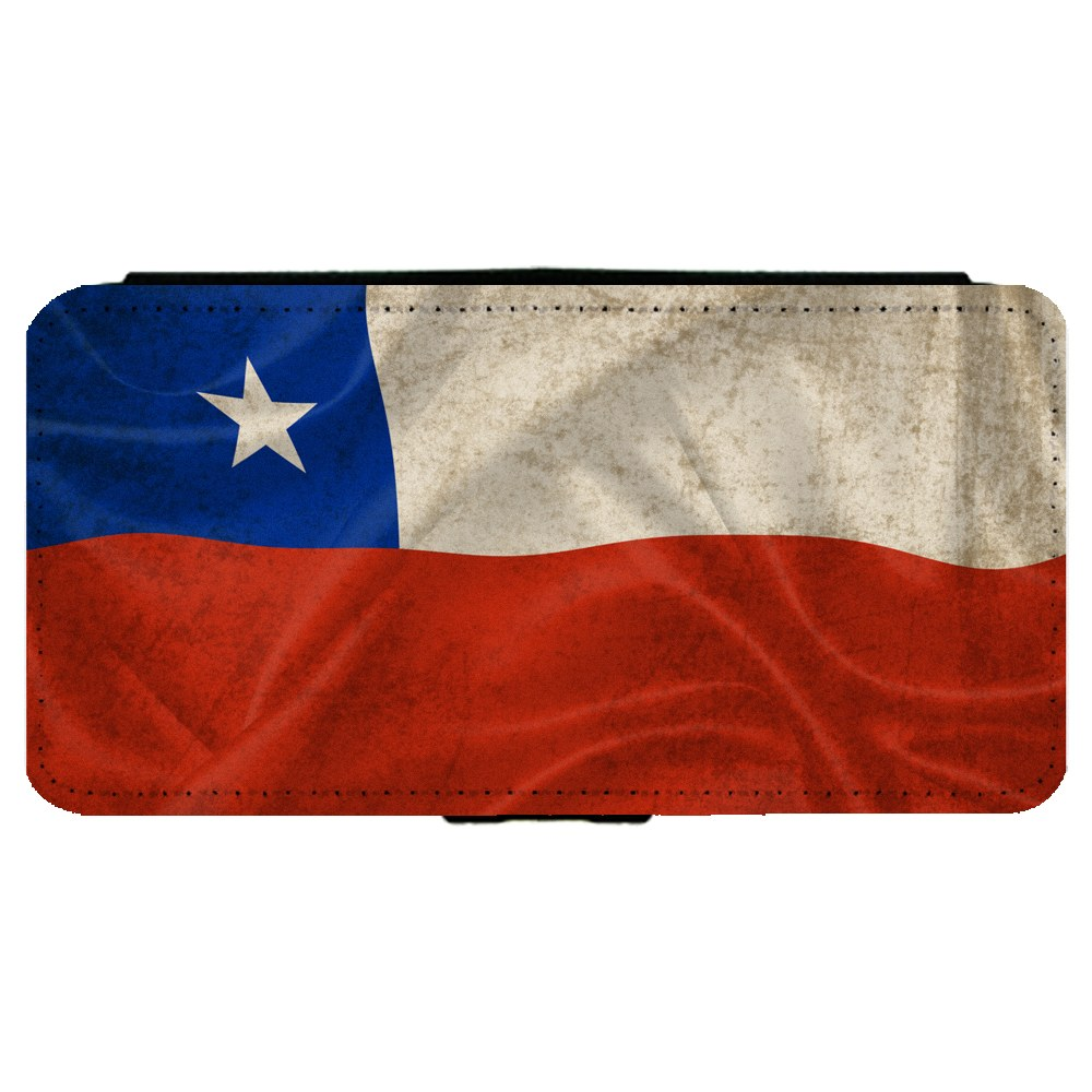 Chile Chilean Flag Apple iPhone 7 Plus (5.5 inch) Leather Flip Phone Case by Mad Marble