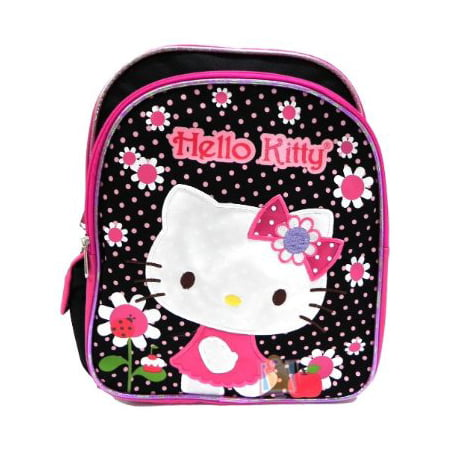 Small Backpack - Hello Kitty - Flowers Black/Pink 12