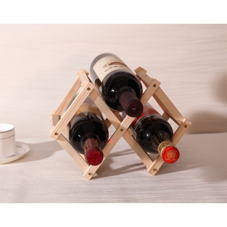 Elegant Foldable Solid Wood Wine Rack Bottle Stand Wine Holder Display Shelf Household Bar Decoration Specification:Natural wood color for 3 bottles