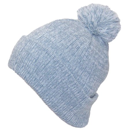 Best Winter Hats Adult Variegated Striped Cuff Hat W Pom (One Size)(Fits Large  Heads) - Gray White 14e40bbb622