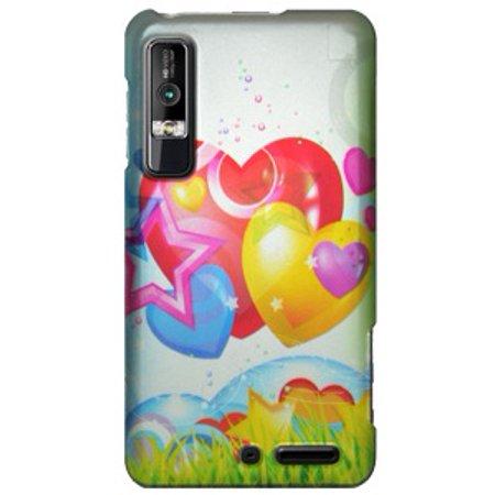 Motorola Case, Rubberized Protector Back Case Slim Designed Snap On Cover - for Motorola Droid 3 XT862 - Rainbow Balloon Hearts