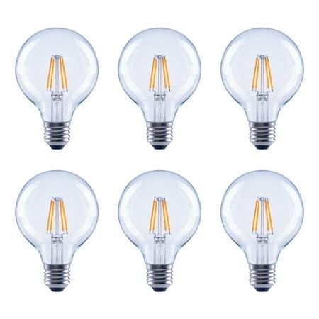 60-Watt Equivalent G25 Globe Clear Glass Filament Dimmable LED Light Bulb Soft White (6-Pack) Clear G25 Globe Light Bulb
