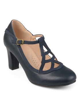 Brinley Co. Women's Faux Leather Two-tone Comfort-sole Vintage Round Toe Lattice Mary Jane Pumps