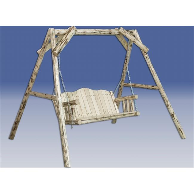 Montana Log Lawn Swing with A-Shaped Frame