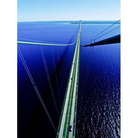 Elevated view of Mackinac Bridge, Mackinac, Michigan, USA Print Wall Art](Halloween Usa Michigan)