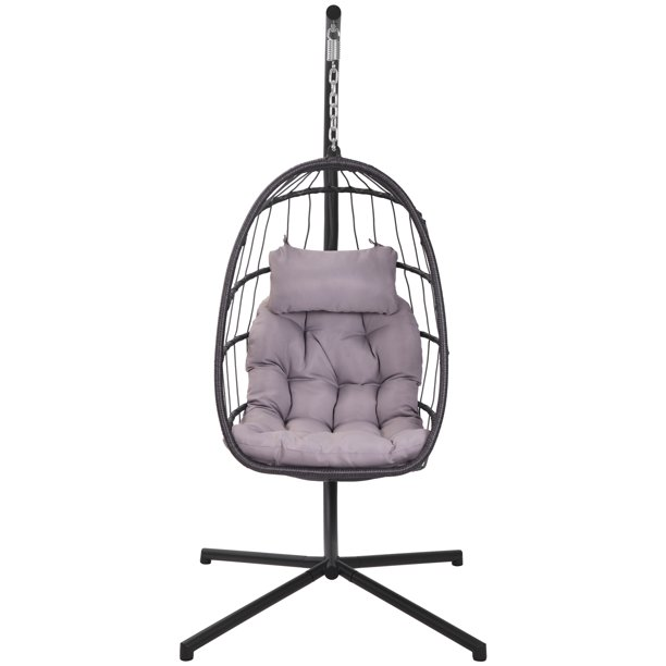 Wicker Hanging Hammock Chair With Stand And Cushion Wicker Swing Egg Shaped Chair W Hanging Kits Durable All Weather Uv Patio Rattan Lounge Chair For Bedroom Patio Deck Yard Garden 350lbs S441 Walmart Com