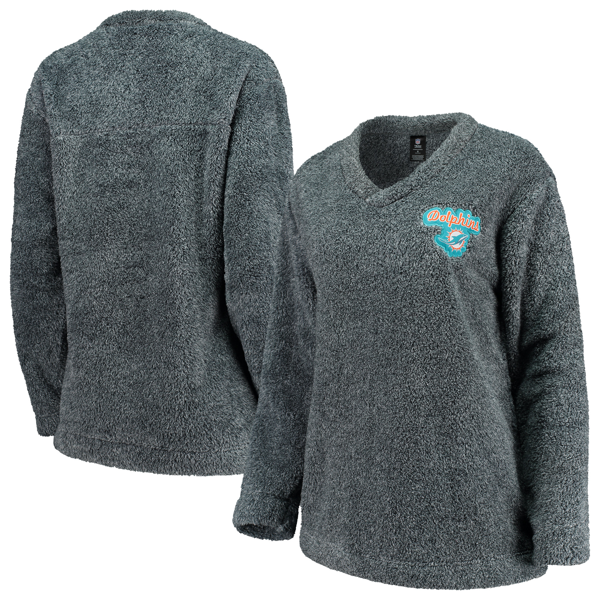 Miami Dolphins Concepts Sport Women's Trifecta Pullover Sweatshirt - Charcoal