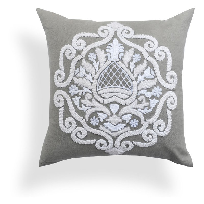 Image of A1 Home Collections Brigid Grey Baroque Pillow