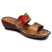 Saachi Women's Leaf Leather Wedge Sandals (China) Brown 9