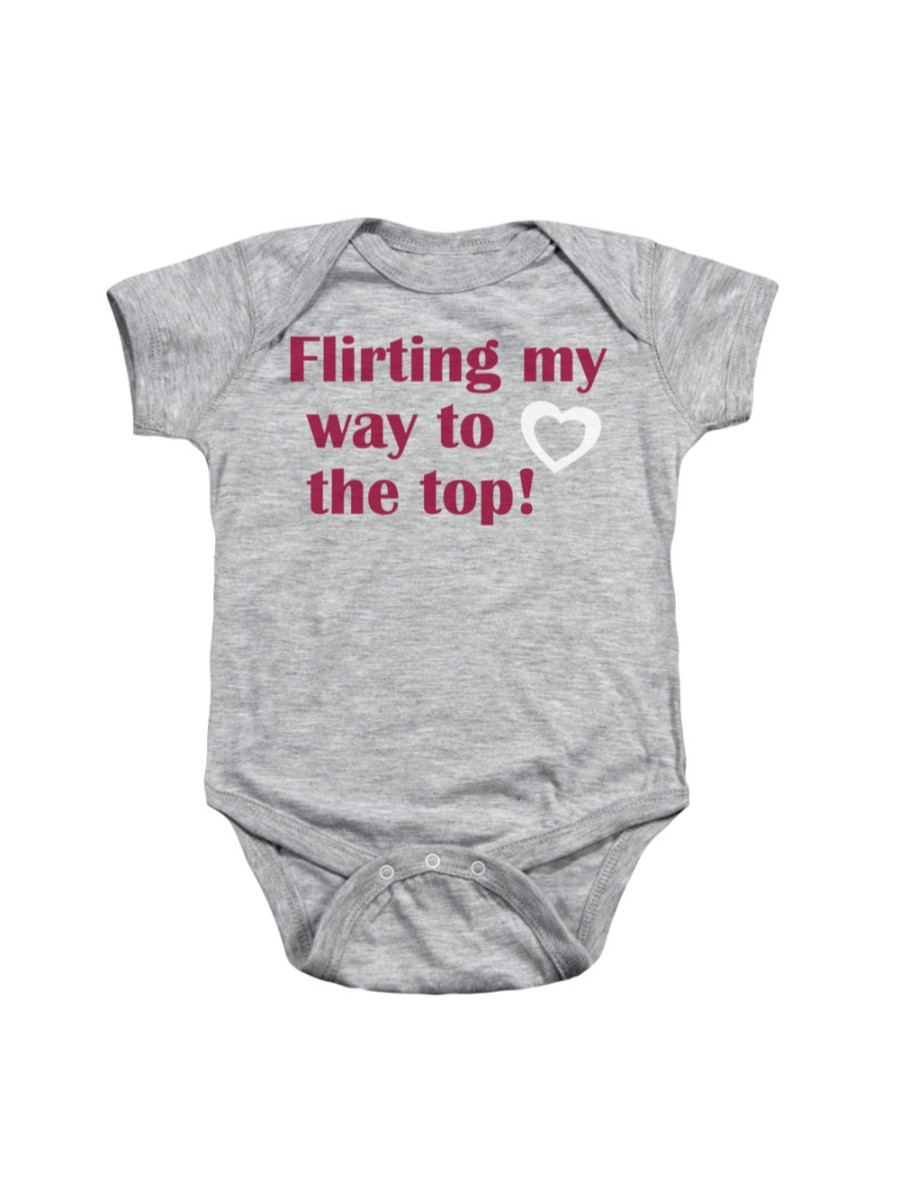 Flirting My Way To The Top Infant Snapsuit Grey Heather Baby Romper Snapsuit