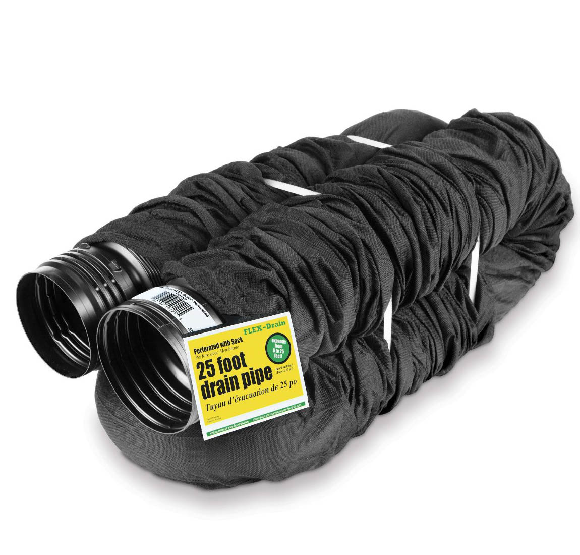 Perforated Corrugated Expandable Flexible Landscape Drain Pipe with Sock, 4-Inch by 25-Foot