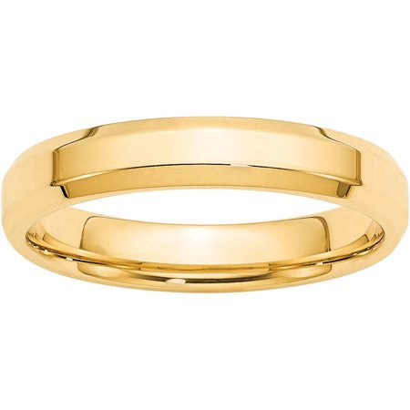 Primal Gold 14 Karat Yellow Gold 4mm Bevel Edge Comfort Fit Band Size 7 14k Gold Overlay Ring
