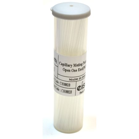 Eisco Labs Borosilicate Glass Capillary Melting Tube in Receptacle with One Open End