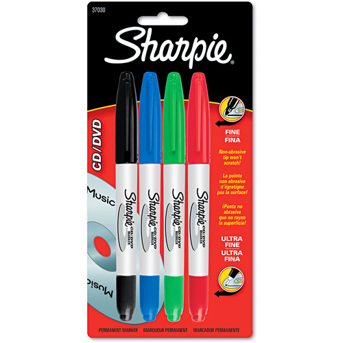 Sharpie Fine/Ultra Point CD/DVD Markers 4pk, Assorted Colors