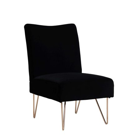 Mainstays Velvet Slipper Chair with Hairpin Legs, Black