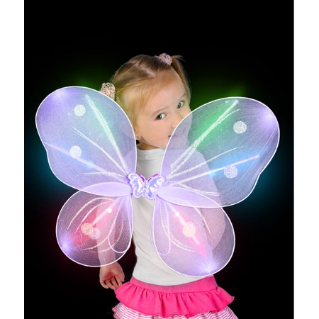 Fun Central (AI610) 1 pc Purple LED Butterfly Wings, Wings Butterfly, Dress Up Costume Accessories, Party Supplies - Costume For Kids Party