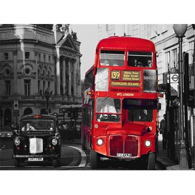 Tangletown Fine Art Taxi & Double-Decker Bus at London Intersection by Pawel Libera Poster Frame - 18 x 24 x 1.5 in.