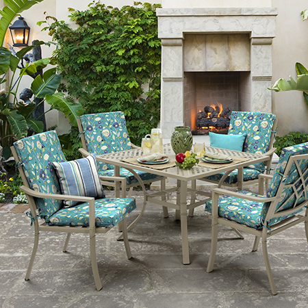 Mainstays Blue Floral Outdoor Cushion Collection