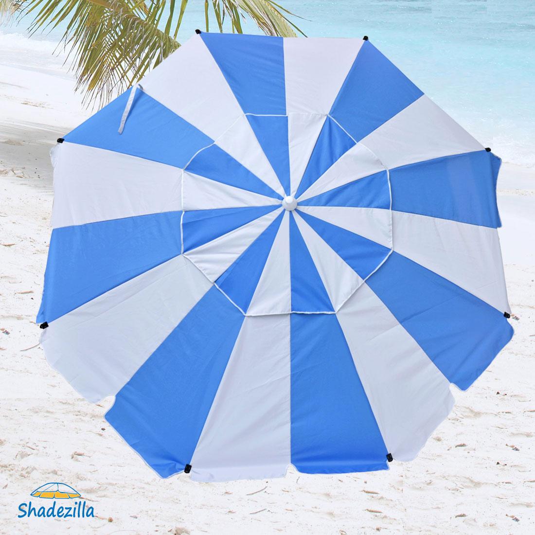 8 ft Premium Heavy Duty Beach Umbrella with Fiberglass Ribs and UPF 100+
