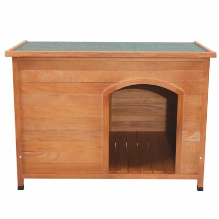 Wooden Weather Resistant Dog House Cabin Shelter w/ Lift-Up Roof, - Natural Wood Color