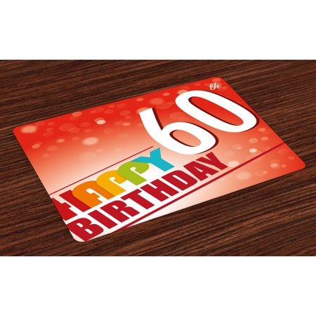 60th Birthday Placemats Set of 4 Red and Scarlet Abstract Beams Backdrop with Party Slogan Image Colorful, Washable Fabric Place Mats for Dining Room Kitchen Table Decor,Multicolor, by Ambesonne