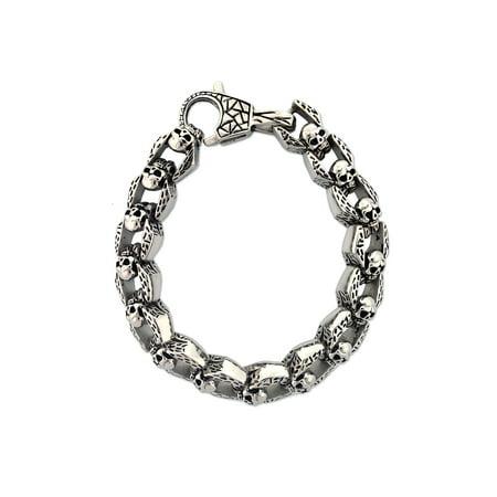 - Men's Stainless Steel Skull Link Bracelet, 8-1/2