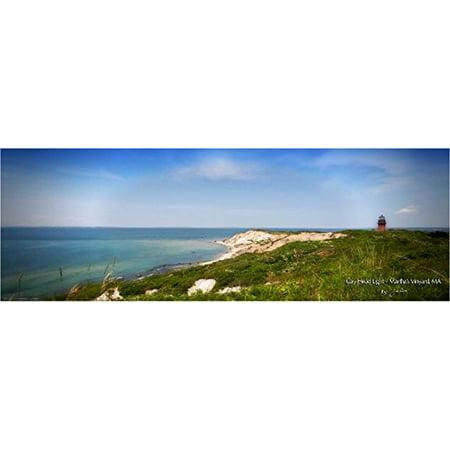 (Gay Head Light - Marthas Vinyard MA by Jobe Waters Photograph 36x12 Art Print Poster Ocean Vacation RelaxBeach Lighthouse Sand Dunes Cape Cod Massachusetts)