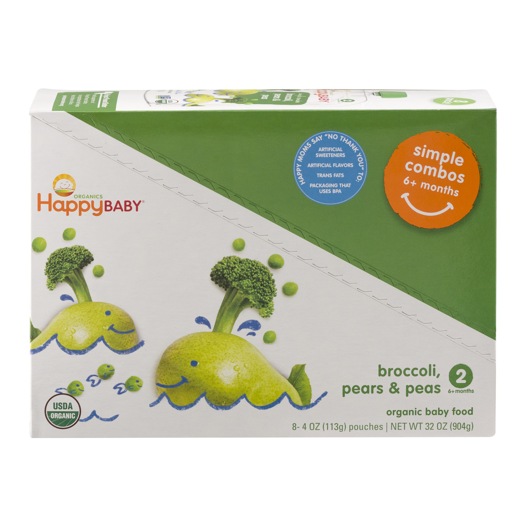 (8 Pack) Happy Baby Simple Combos, Stage 2, Organic Baby Food, Pears, Peas & Broccoli – 4 oz