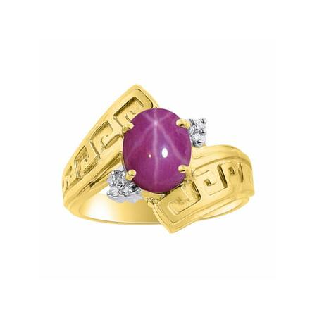 Diamond & Star Ruby Ring Set In Yellow Gold Plated Silver - Greek Key Design - Color Stone Birthstone (Ruby Greek Key Ring)