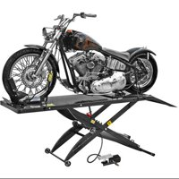 Air Operated Motorcycle Lift Table with Wheel Chock & Drop Panel
