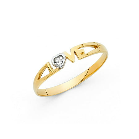 Two Hearts One Love Ring (14k Two Tone Italian Solid Gold 3mm Grooved I Love You Heart Band CZ Ring Size 8 Available All)