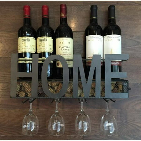 - Soduku Wall Mounted Metal Wine Rack 4 Long Stem Glass Holder Wine Cork Storage