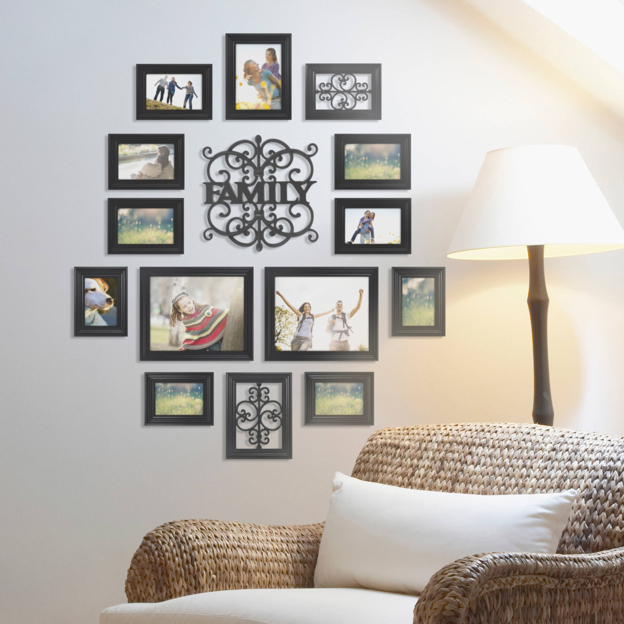Mainstays 15-Piece Family Expression Picture Frame Set, Black ...