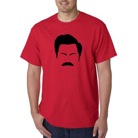 New Way 874 - Unisex T-Shirt Ron Swanson Silhouette Facial Face Parks Rec 3XL (Ron Paul Revolution T-shirt)