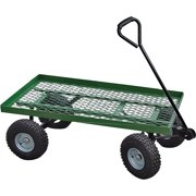 Landscapers Select Flat Bed Mesh Body Garden Cart, 38 In L X 20 In W, 600 Lb, Steel, Green, Comfort