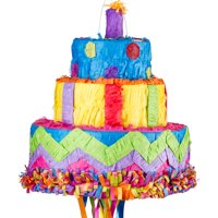 "Party City Birthday Cake Pull String Pinata, 12"" x 11"""