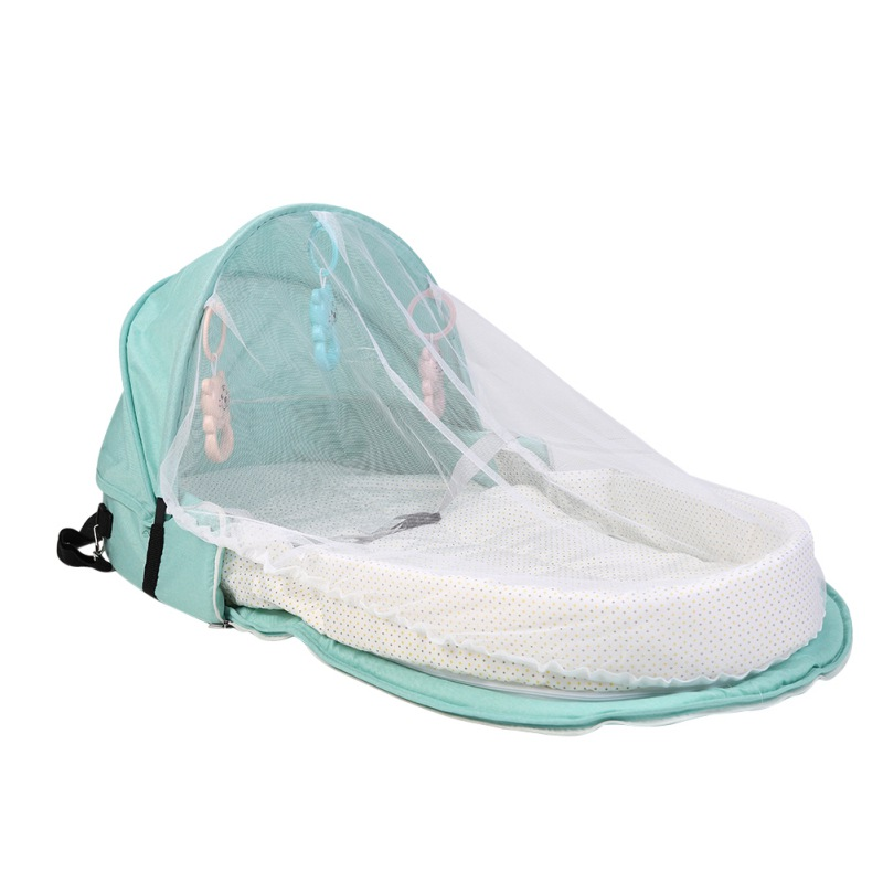 Color : 1 Portable Bed with Toys for Baby Foldable Baby Bed Travel Sun Protection Mosquito Net Breathable Infant Sleeping Basket,
