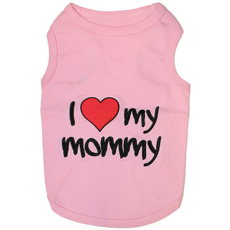 Parisian Pet Dog Clothes I LOVE MOMMY PINK T-Shirt