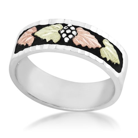Mens Black Hills Gold Antiqued Wedding Band in Sterling Silver with 12k Gold Leaves ()