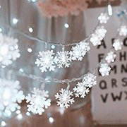 Christmas Decorations Christmas Snowflake Led Lights 16.5ft 50 LED Battery-Operated Fairy String Lights Snowflake Decorations for Home, Church, Wedding, Birthday Party(Snowflakes White)