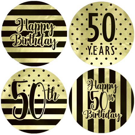 Gold Foil 50th Birthday Favor Labels 40ct - Black and Gold Stripe and Polka Dot Birthday Party Supplies - 40 Count Stickers (1 3/4 - 40 Party Supplies