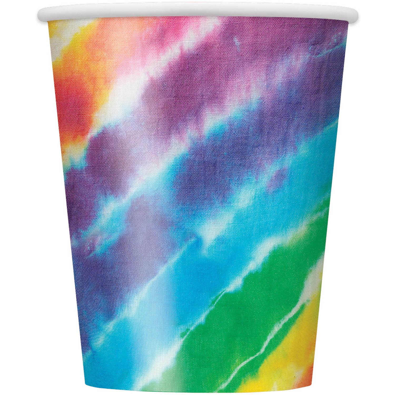 9oz Paper Rainbow Tie Dye Cups, 8ct