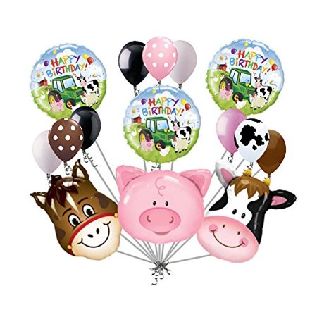 15 pc Farm Animal Heads Balloon Bouquet Happy Birthday Party Decoration Cow Pig