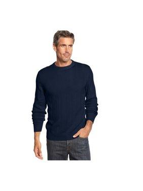 John Ashford Mens Ribbed Pullover Sweater, Blue, Big 3X