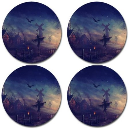 Halloween Pumpkin creepy scary Rubber Round Coaster set (4 pack) Great Gift Idea for $<!---->