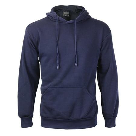 Men's Premium Athletic Drawstring Fleece Lined Sport Gym Sweater Pullover Hoodie (Navy,M)
