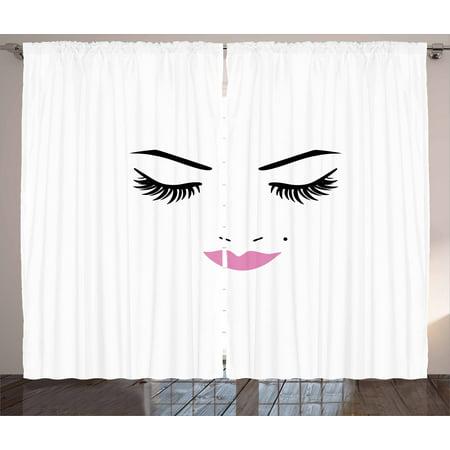 9182f0d4bcfc Eyelash Curtains 2 Panels Set, Closed Eyes and Pink Lipstick Glamor Makeup  Cosmetics Beauty Feminine Design, Window Drapes for Living Room Bedroom, ...