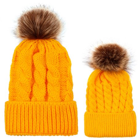 Women Mom Baby Kids 2pcs Warm Winter Hat Knit Wool Beanie Fur Pom Bobble Crochet Cap ()