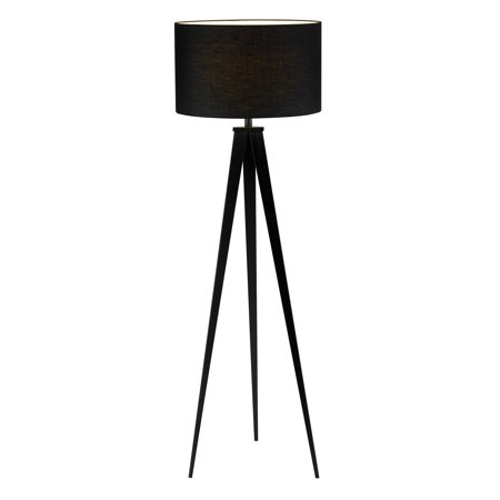 Adesso Director Collection Black Modern Torchiere Tripod Floor Lamp ...