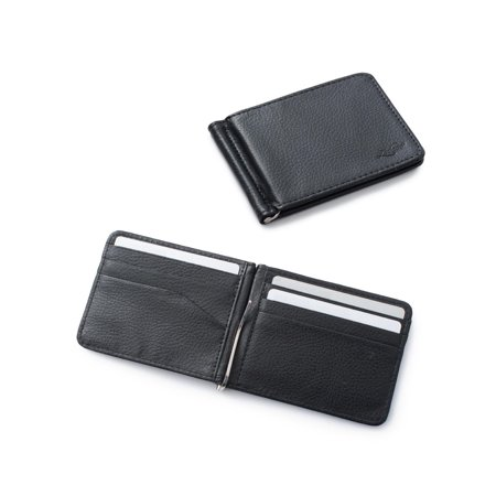 Zodaca Stylish Men's Slim Leather Bifold Wallet Purse Credit Card Holder Case with Removable Money Clip - Black Billfold Credit Card Holders